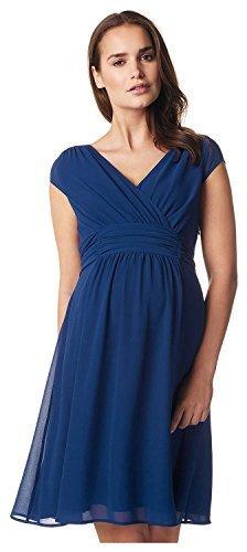 Damen Umstands- Kleid Gerafftes Taillenband Dress Farbe: Medium Blue Größe: S