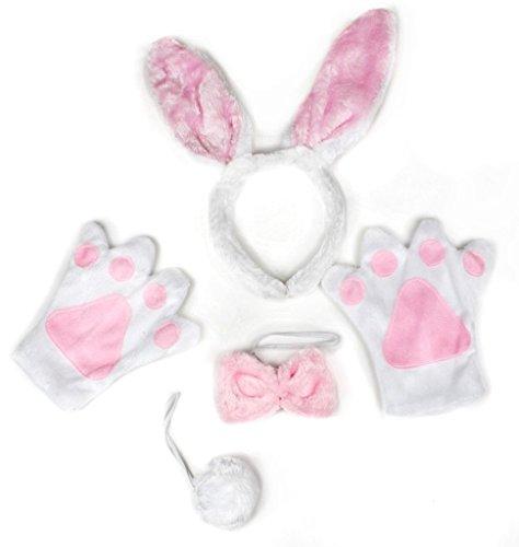 petitebelle weiß Kaninchen Stirnband Schleife Schwanz Handschuhe Kostüm Party für Erwachsene Gr. One Size, weiß