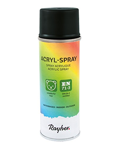 Rayher Hobby 34145576 Acryl-Spray, Acryllack, seidenmatt, Sprühlack für innen und außen, hohe Deckkraft, umweltbewusst spraylackieren, Dose 200 ml, schwarz -