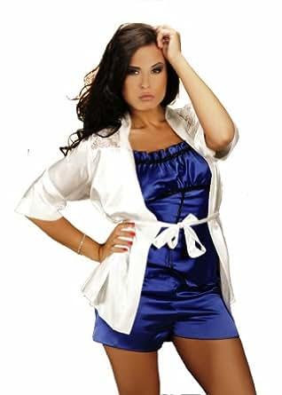 Plus / One Size Sexy Lingerie Satin Pyjama Set 8 10 12 14 16 S M XL 2XL Cami Set, Blue - S