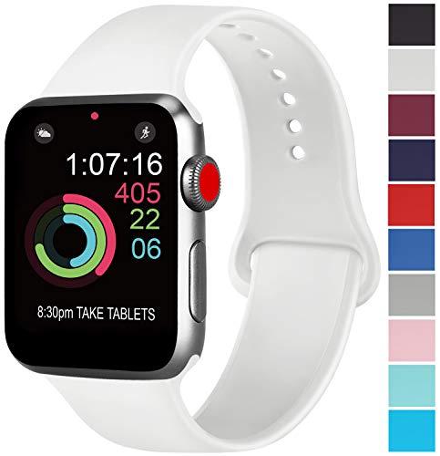 AK Compatible Apple Watch Bracelet 42mm 38mm 44mm 40mm, Bracelet de Sport en Silicone Remplacement Compatible la série 4, la série 3, la série 2 et la série 1 d'iWatch (05 Blanc, 38/40mm S/M)