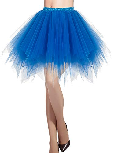 Kostüm Tutu Blau - Dresstells Damen Tüllrock 50er Rockabilly Petticoat Tutu Unterrock Kurz Ballett Tanzkleid Ballkleid Abendkleid Gelegenheit Zubehör Royal Blue S