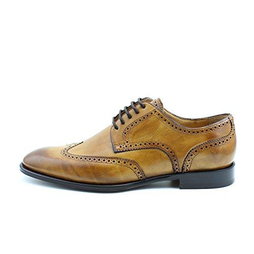 GIORGIO REA Chaussures Homme Marron Fait à la Main en Italie, Single Boucle, Brogues, Mocassins, Boucles, Élégant, Haute Couture