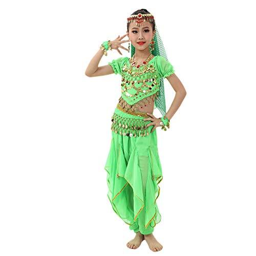 Belly Dance Kostüme Mädchen Performance Kleid Tanzkleid Kurzarm Top + Rüschen Pluderhosen 2 PCS Piebo Kinder Indische Bollywood Orient Kostüme Ägypten Bauchtanz Pailletten Karneval Hochzeitsfestparty (Indischen Jungen Baby Kostüm)
