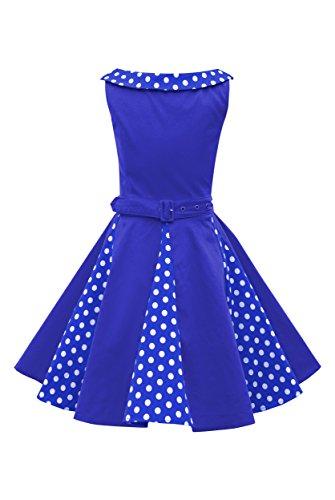 BlackButterfly Kinder 'Alexia' Vintage Polka-Dots Kleid im 50er-J-Stil (Königsblau, 9-10 J / 134-140) -