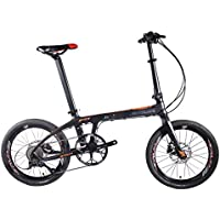 """Sava 20"""" Bicicletta Pieghevole di Fibra di Carbonio Shimano 3000 Sistema di Trasmissione 9-velocità CSTE Pneumatici Facile da Trasportare (Nero Arancio)"""