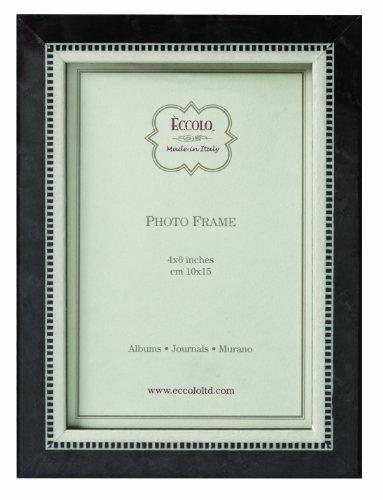Eccolo Marquetry Wood Tie Contemporary Wedding Frame, Black, 8 x 10-Inch