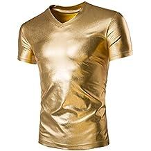 MISSEUROU männer - Sport - elastische Lack Leder sexy Enge t - Shirts Faux b002a5b3c2