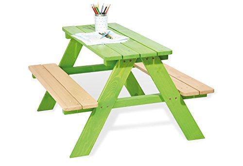 Kinder-terrasse-gartenmöbel (Pinolino Kindersitzgarnitur Nicki für 4, aus massivem Holz, 2 Bänke mit 1 Tisch, empfohlen für Kinder ab 2 Jahren, grün)