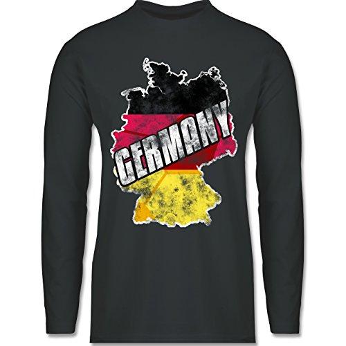 EM 2016 - Frankreich - Germany Umriss Vintage - Longsleeve / langärmeliges T-Shirt für Herren Anthrazit