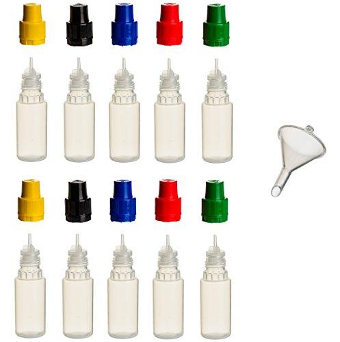 Liquid-10 Ml Flasche (10 Stück 10 ml PP-Flaschen MIT FARBIGEN DECKELN + Füll-Trichter - Quetschflasche Leerflasche Kunststofflasche Plastikflasche Spritzflasche quetschbar zum befüllen und mischen auch Liquide)