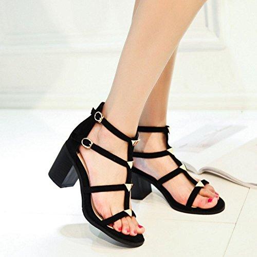 COOLCEPT Femmes Mode Enveloppement de cheville Sandales Bloc Escarpins Orteil Ouvert Chaussures SU Noir
