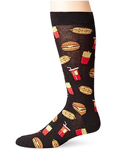 K. Bell Socks Original Neuheit Herren Crew Socken, Herren, Junk Food (Black), Shoe Size 6-12 / Sock Size 10-13