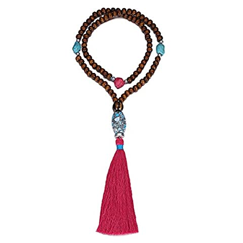 eManco Religious Prayer Meditation Long Brown Wood Bead Necklace with Tassel Pendant for Women Jewellery