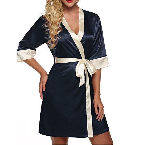 Morgenmantel,Sondereu Damen Nachtmantel Seidenrobe Nightwear Bademantel Kurz Satin Kimono Negligee Satin XS Navyblau