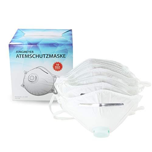10x Atemschutzmaske mit Ventil | Staubmaske Schutzklasse gemäß Norm FFP2 EN 149:2001+A1:2009 Sicherheitsschranken | Mundschutz - perfekt anpassbar (Privat- oder Gewerbegebrauch geeignet) von JUNGMEYER