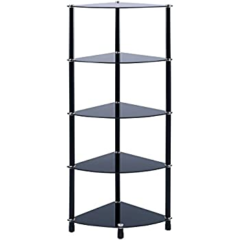 King black glass 4 tier modern organisation rack corner - Glass corner shelf for living room ...