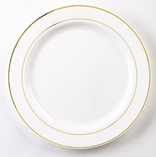 EMI Yoshi Koyal Glimmerware Salad Plates, 7.5-Inch, White and Gold, Set of 120 by EMI Yoshi