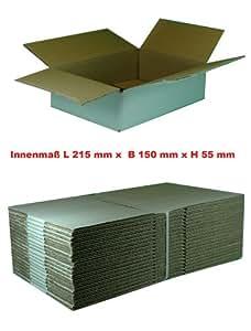 20 x Boîte en carton d'expédition blanc - 150 x 215 x 55 mm (intérieur) einwellige expédition pliants cannelure b-simple cannelure à en carton avec rabats deckelklappen post cartons sachets colis boîtes permis