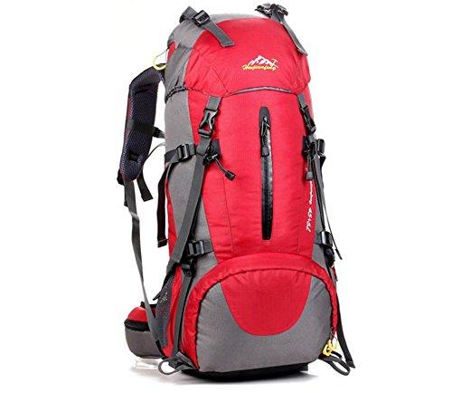 All'aperto alpinismo borsa zaino borse per uomini e donne Zaino multiuso di 50L escursionismo zaino con trasporto , red Red