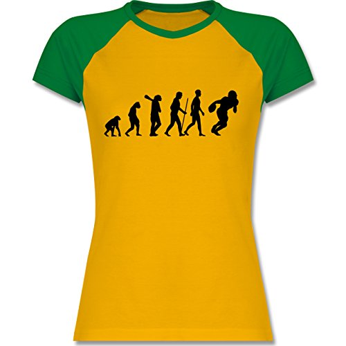 Evolution Football Evolution zweifarbiges Baseballshirt / Raglan TShirt für  Damen Gelb/Grün