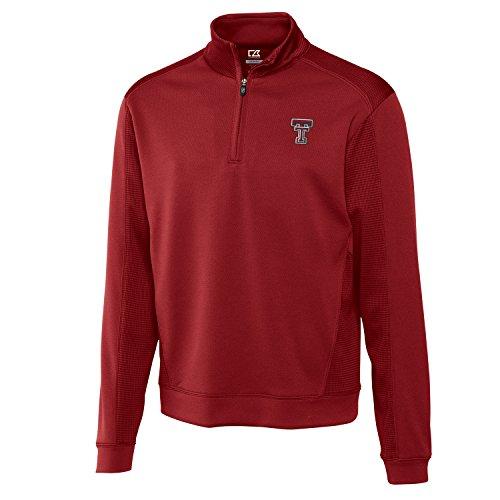Cutter & Buck NCAA Herren Hemd Edge Half Zip, Herren, CB DrytecTM Edge Half Zip, Kardinalrot, Medium - Cutter & Buck Mesh Pullover