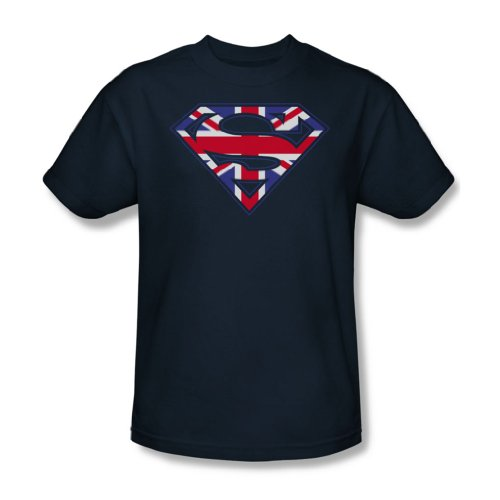 Superman - Great Britian Shield - Navy Erwachsene Kurzarm T-Shirt für Männer Navy