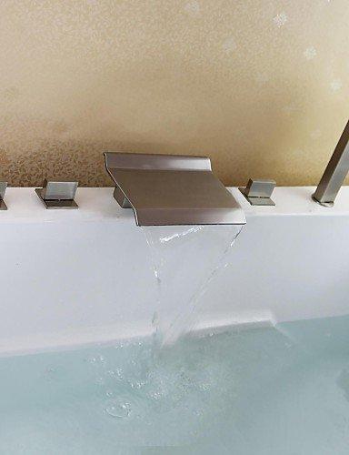 KISSRAIN® Vasca da bagno rubinetto - Contemporanea - Cascata / Handshower Incluso - Ottone (nichel spazzolato)