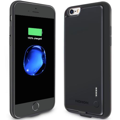 Cover con Batteria iPhone 6/6S,Caricabatterie Portatile NOHON 2000mah Protettivo Fornitura Protettiva con Cover batteria Power Bank integrata,Ricaricabile di riserva Backup Battery Charger Silicone Ca iPhone 6/6s nero
