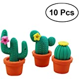 Pencil Eraser Rubber Mini Cactus in Pot Kid Party Favour Gift Toy Random Color - 10pcs
