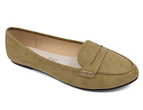 Greatonu Chaussures Femme Mocassins Suédé Plat EU 36-41 Beige