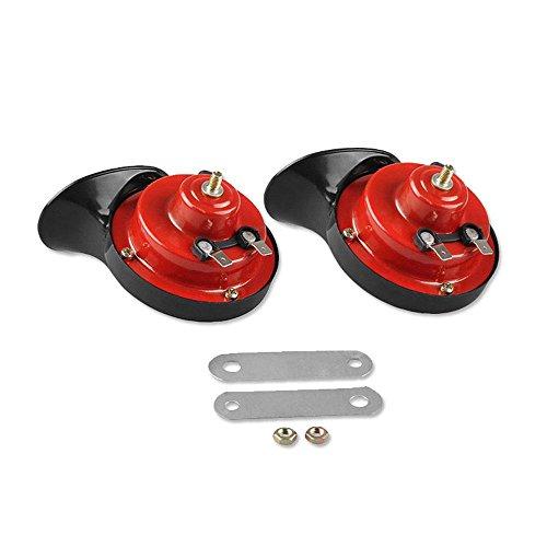 Preisvergleich Produktbild AOLVO 12V Autohupen Electric,  2 Stücke Laut Hupen Schnecke Shaped Autohupe 2 Klang / Aus ABS-Material Polymer / Wasserdicht und Starke Durchschlagskraft,  Schwarz Rot