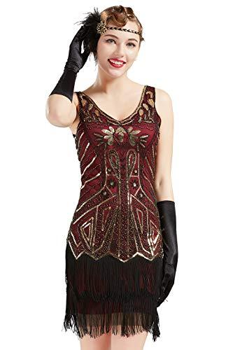 ArtiDeco Damen Kleid Retro 1920er Stil Flapper Kleider mit Zwei Schichten Troddel V Ausschnitt Great Gatsby Motto Party Kleider Damen Kostüm Kleid (Weinrot Gold, XS (Fits 72-74 cm Waist))