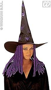 WIDMANN Spider witch hat with curly locks, orange (gorro/sombrero)