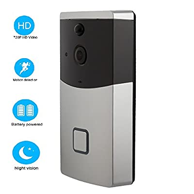 OPTA Video Doorbell 720P HD WiFi Camera Real-Time Video Two-Way Audio Wide-Angle Lens Night Vision PIR Motion Detection App Control for iOS and Android