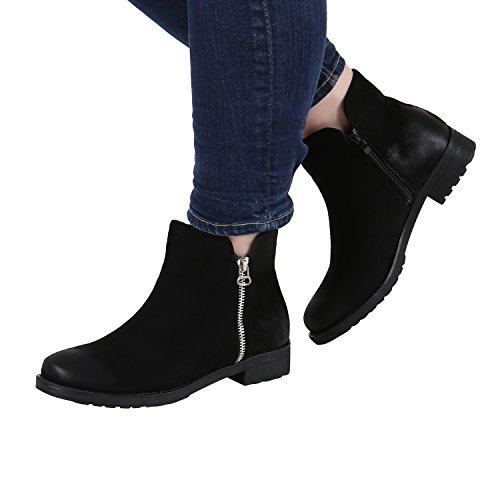 Klassische Damen Stiefeletten Zipper Gefüttert Lederoptik Gr. 36-42 Schwarz