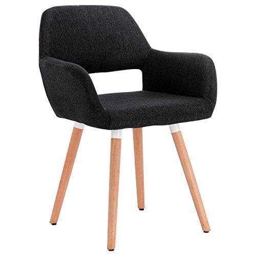 Woltu bh76sz-1 sedia da sala pranzo poltroncina con schienale poltrona per cameretta salotto cucina ristorante lino gambe legno nero