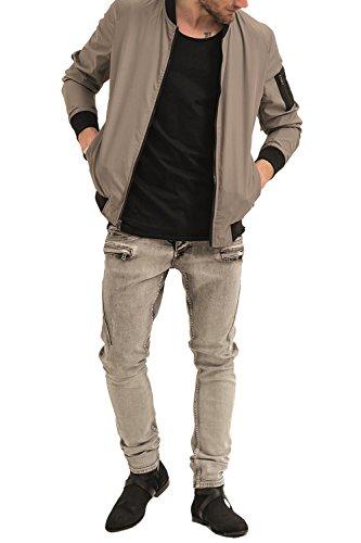 trueprodigy Casual Herren Marken Bomberjacke 2 in 1 zweifarbige, Wendejacke cool und stylisch vintage (sportlich & Slim Fit), Jacke für Männer in Farbe: Khaki 3573101-0629 Khaki