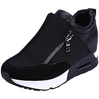 Toamen Botas De Cuña para Mujer Zapatos De Plataforma Botas De con CordonesCasuales De Moda