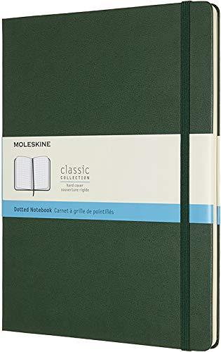 Moleskine Klassisches Notizbuch (mit Punktraster, Hardcover mit Elastischem Verschlussband, Größe A4 19 x 25, 192 Seiten) myrte grün