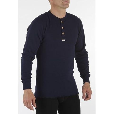 aclima Grandad Warm Wool–Camisa para mujer, color azul, tamaño S