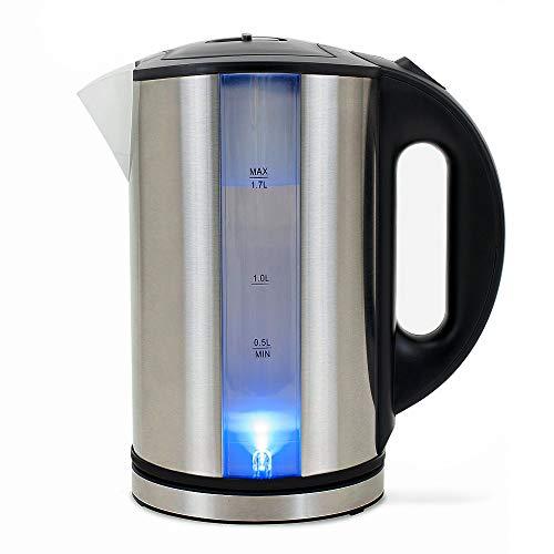 DEUBA Wasserkocher Teekocher Edelstahl, LED, 2200 Watt, 1,7 Liter, inkl. Kalkfilter, BPA frei, kabellos
