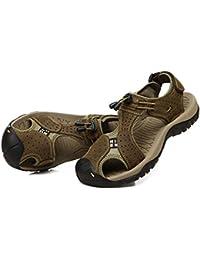 Onfly Hombres Chicos Dedo del pie cerrado Cuero Casual Sandalias Zapatillas Antideslizante Respirable Para caminar Al aire libre Sandalias Zapatos de agua Zapatillas de deporte ocasionales Playa Zapatos San , khaki , 42