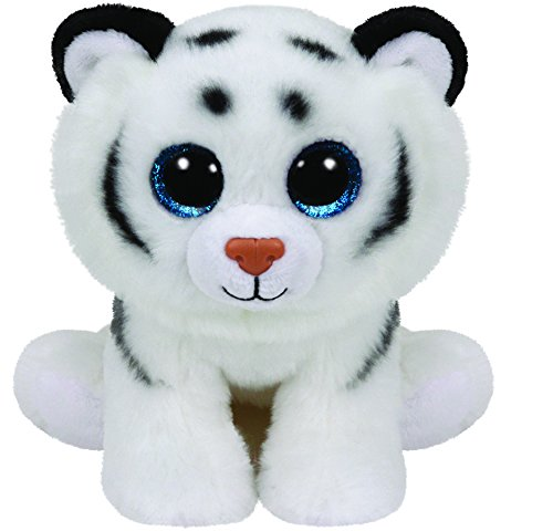 TY 90219 - Tundra - Tiger mit Glitzeraugen, Classic Plüschtier, 33 cm, weiß (Classic Tiger)