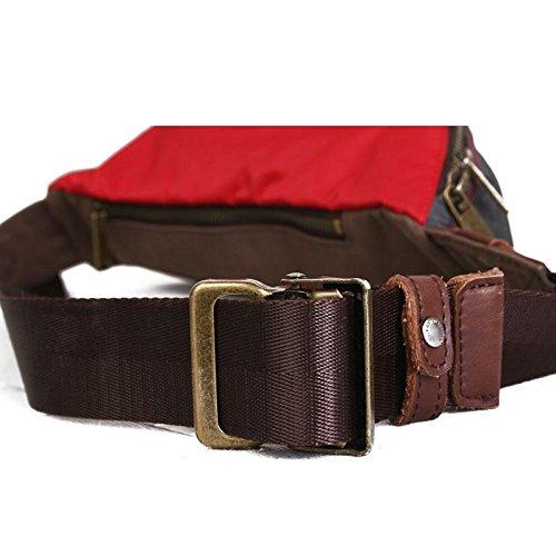 &ZHOU Männer und Frauen Tasche Handtasche Brust Paket Sporttasche Freizeit-Paket schräg Rucksack coffee / red
