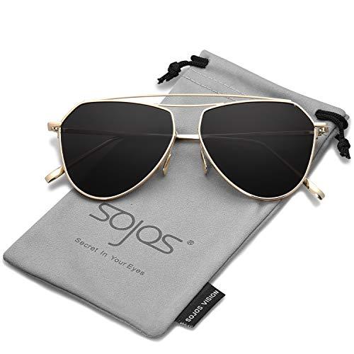 SOJOS Klassische Doppelte Flex Speicher Metall Brücken Flieger Verspiegelt Linsen Herren Damen Sonnenbrille SJ1040 mit Gold Rahmen/Grau Linse