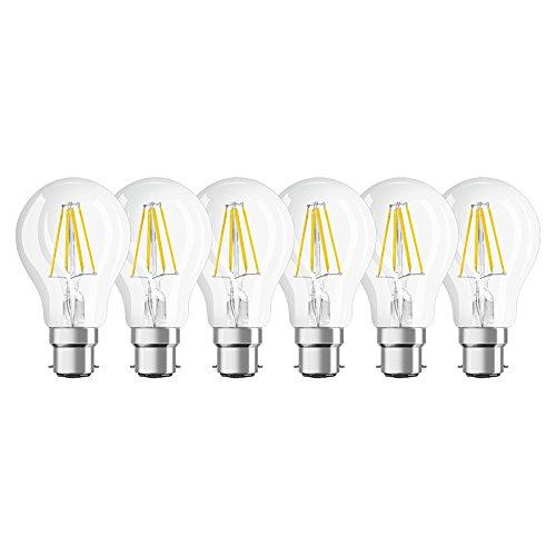 OSRAM - Lot de 6 ampoules LED B22 - Forme Standard Filament - 7W Equivalent 60W - Blanc Chaud 2700K