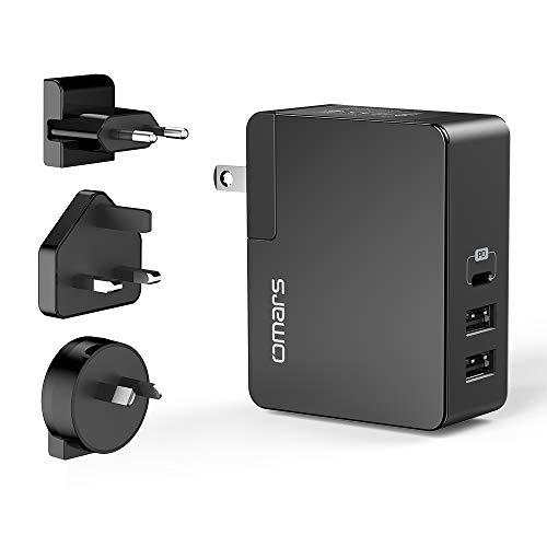 Omars USB C Ladegerät 3-Port PD Wandladegerät mit 30W Power Delivery und USB A x 2 Type C Netzteil für MacBook Pro, iPad Pro, iPhone X/XS/XR / 8/8 Plus, Galaxy S9 / S8 / S8+, Huawei, Switch