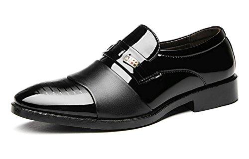 XWZG® Business Casual Schuhe Herren Lackschuhe Herren Schuhe für Hochzeit Große Größe, Black, 46