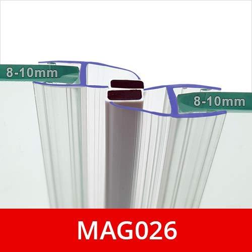 Magnetische Duschdichtungen, Verkauf als Paar, passend für 8-10 mm Glas, vorstehende Seitenmagnete in der Regel an Schwenktüren, 2 m lang, MAG026